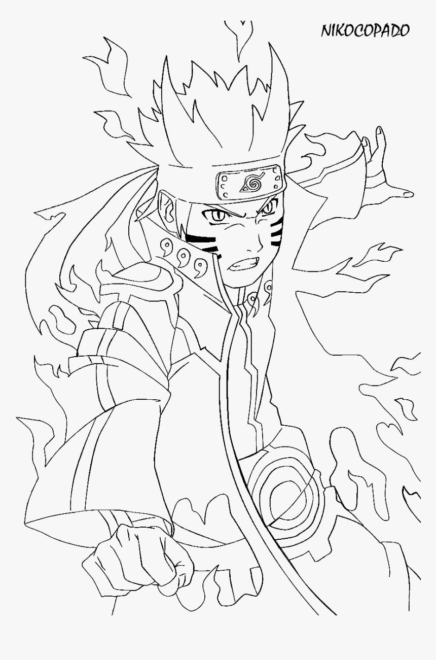 Click To See Printable Version Of Naruto In Kurama Nine Tailed Fox Naruto Coloring Page Hd Png Download Kindpng