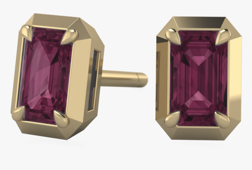 Ethical Rhodalite And Garnet Recycled Gold Post Earrings - Diamond, HD Png Download, Free Download