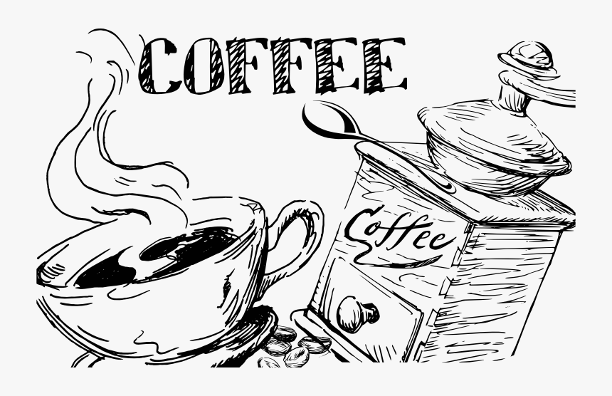 Hand Drawn Coffee Line Art - Coffee Hand Drawn Png, Transparent Png, Free Download