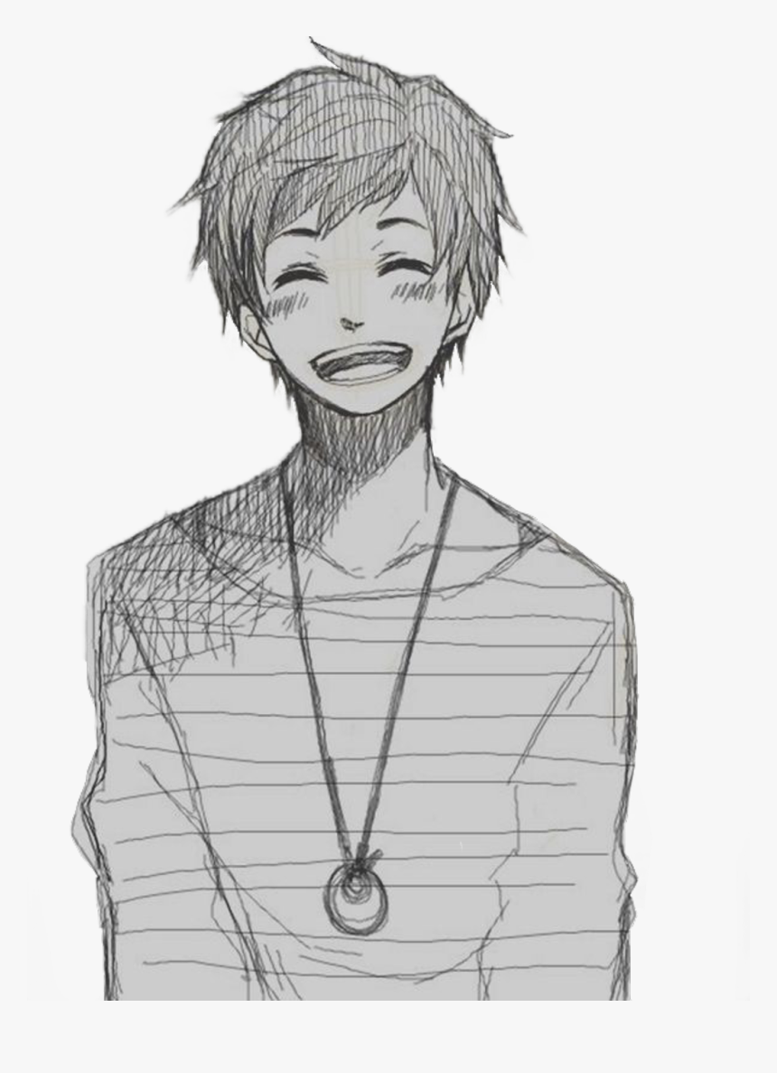 Anime Smile Png - Draw Anime Boy Hair, Transparent Png, Free Download