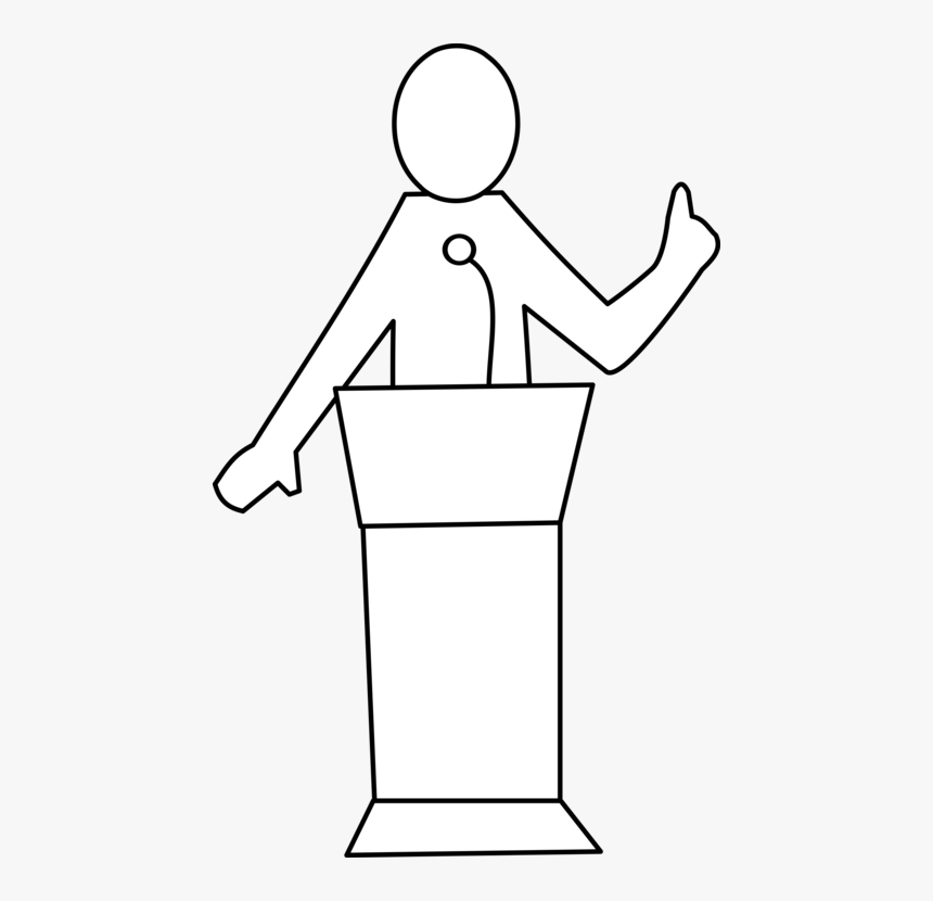 Standing,line Art,angle - Podium Clipart Black And White, HD Png Download, Free Download