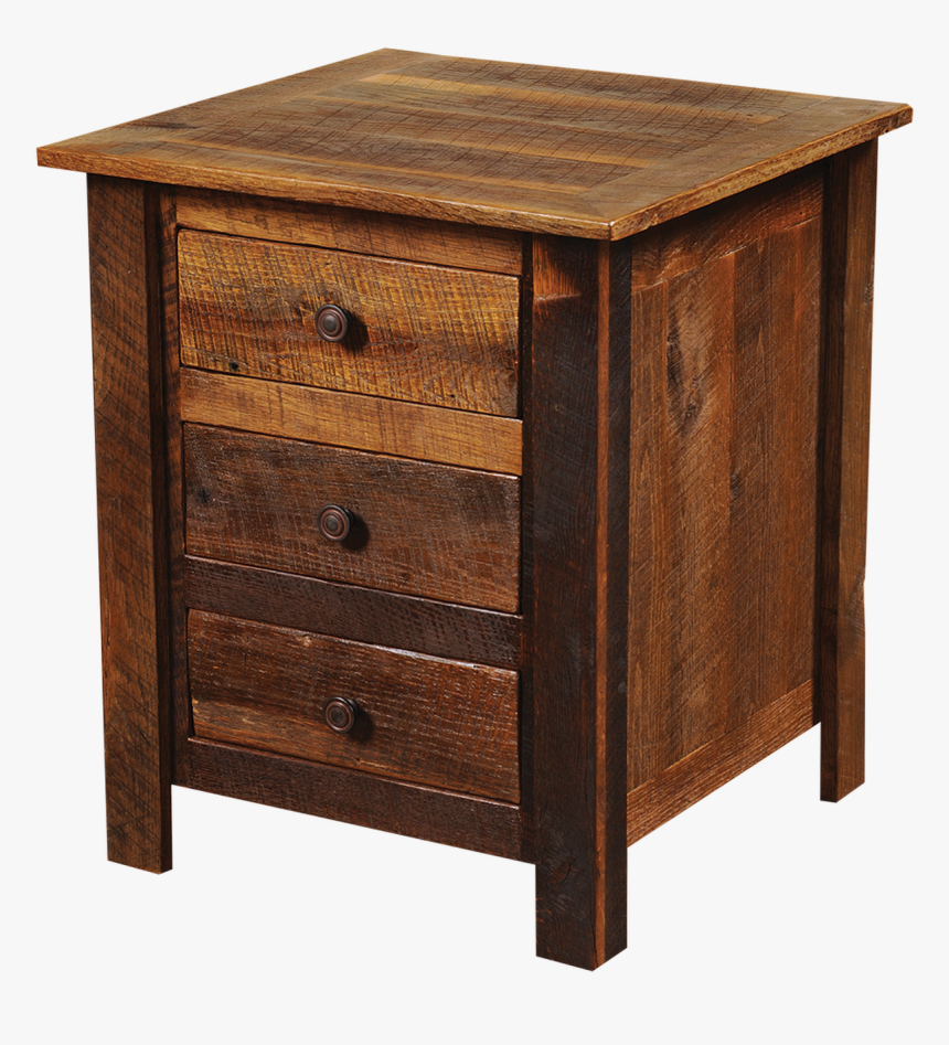 Barnwood Three Drawer Nightstand - Wooden Side Table Designs, HD Png Download, Free Download