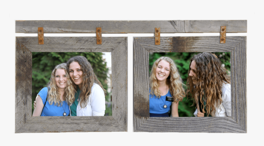 Horizontal Double Rustic Barnwood Frame For 2 Photos - Photograph, HD Png Download, Free Download