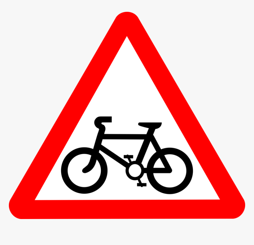 Triangle,area,symbol - Cycle Route Ahead Road Sign, HD Png Download, Free Download
