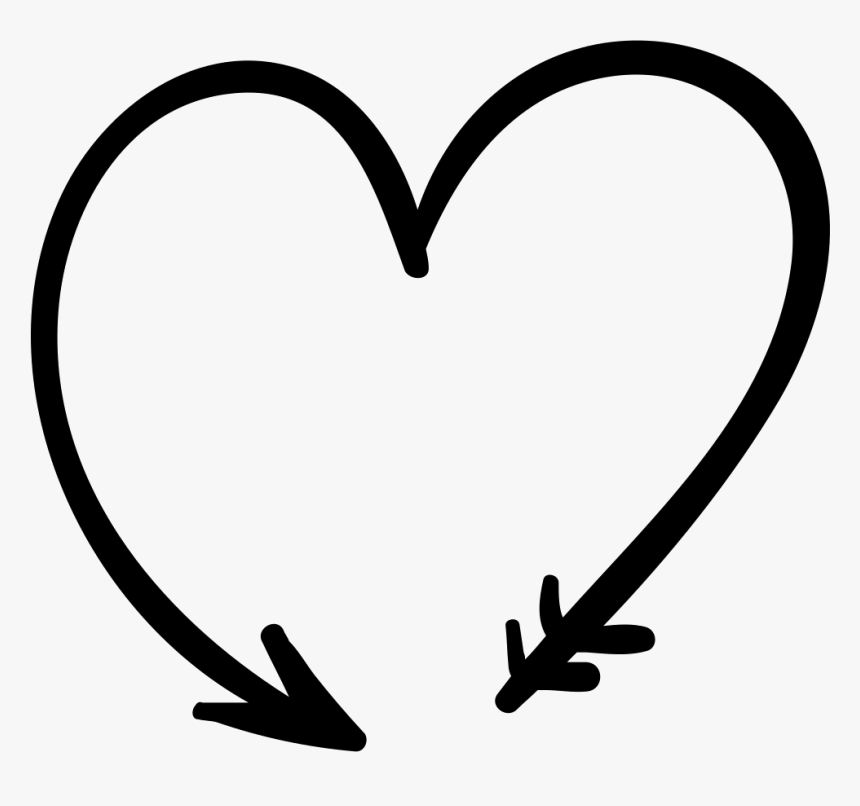 Svg Download Black And White Transparent - Arrow In Shape Of Heart, HD Png Download, Free Download