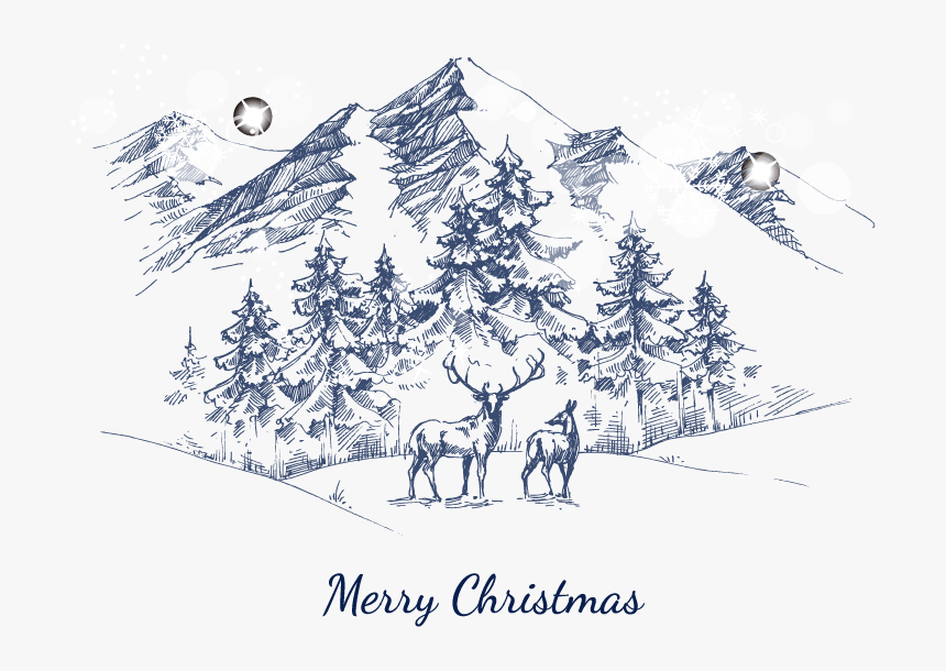 Snowy-mountain - Snowy Mountain Sketch, HD Png Download, Free Download