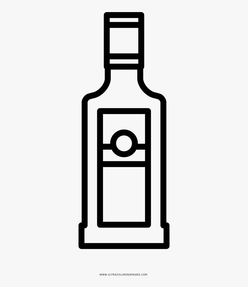 Liquor Bottle Coloring Page - Garrafa De Vodka Para Colorir, HD Png Download, Free Download