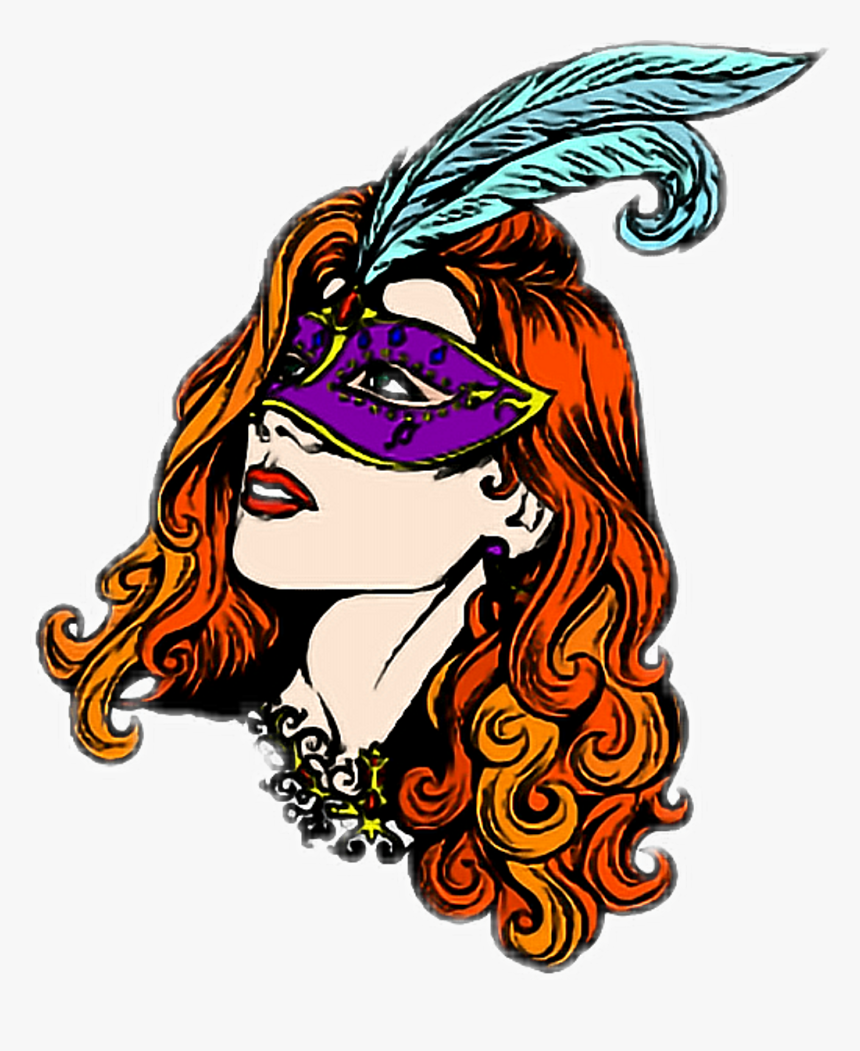 Masked Mask Woman Colorful Masquerade Masqurade Covered - Illustration, HD Png Download, Free Download