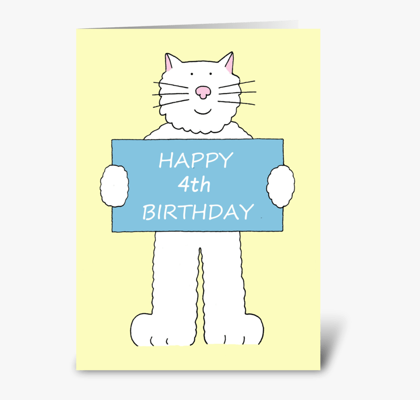 Happy 4th Birthday Cute Cat - Happy 1st Birthday Cat, HD Png Download, Free Download