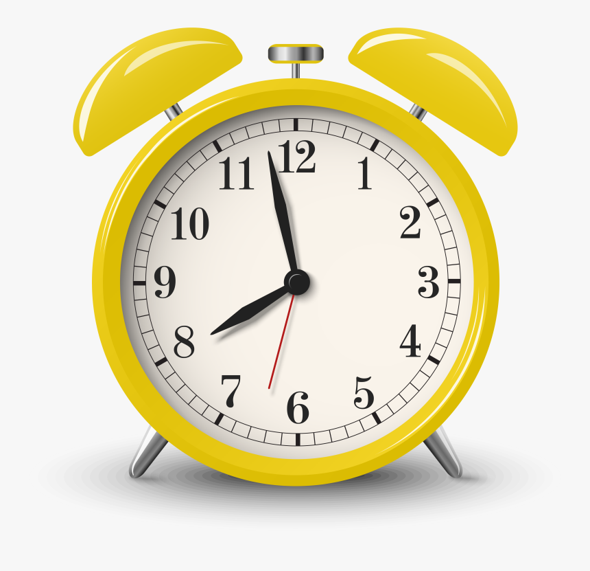 Transparent Clock Clipart Png - Yellow Alarm Clock Png, Png Download, Free Download