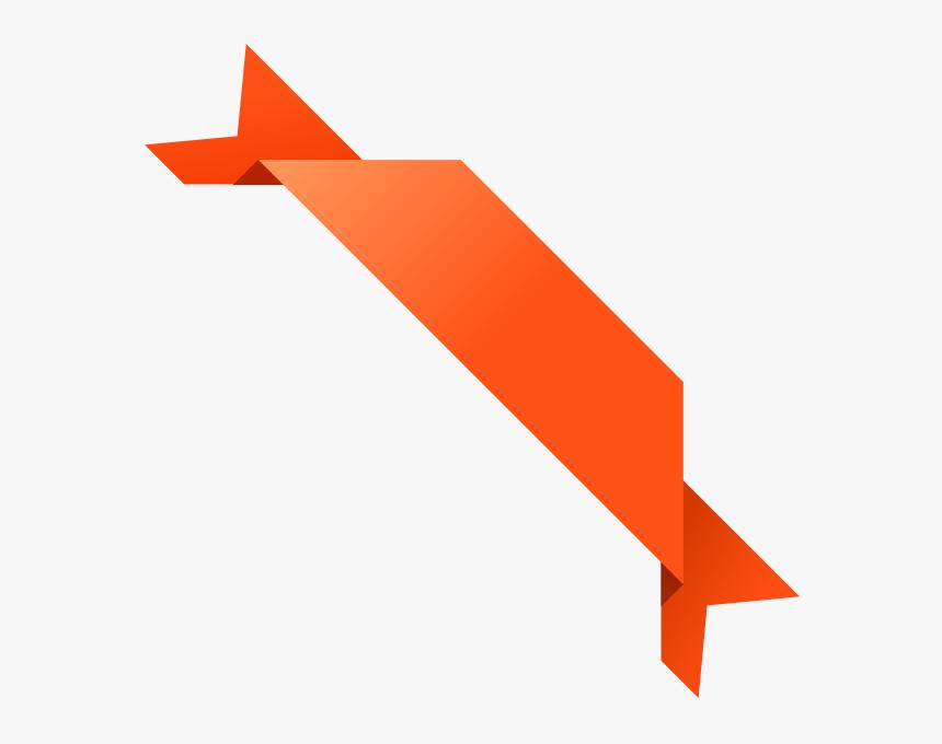 Orange Ribbon Png- - Corner Ribbon Design Png, Transparent Png, Free Download