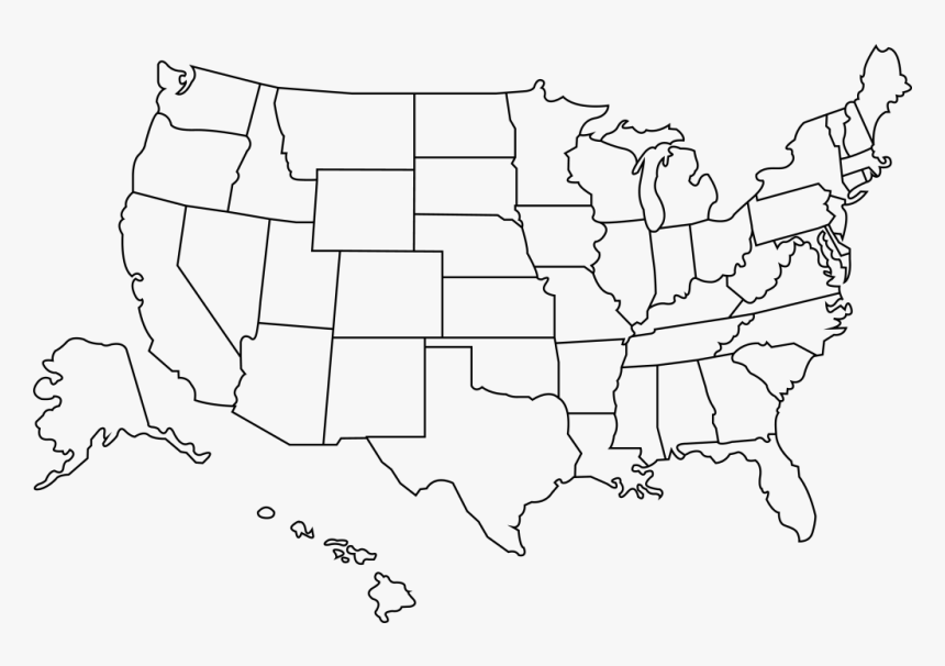 Outline Of The United States - Chicago To La Map, HD Png Download, Free Download