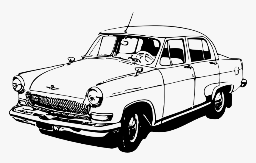 Volga, Car, Classic Car, Vintage Car, Soviet Union - Old Car Clipart Black And White, HD Png Download, Free Download