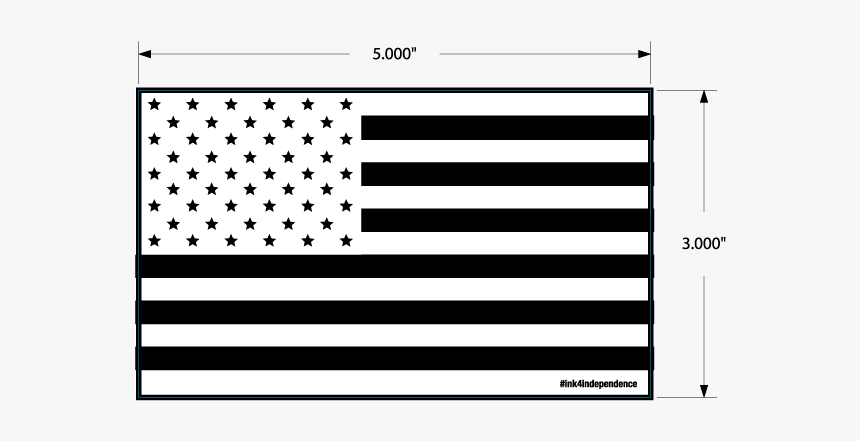 3 Inch X 5 Inch Reversed Black And White American Flag - Flag Of The United States, HD Png Download, Free Download
