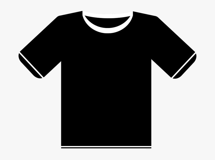 Black, Shirt, T-shirt, White, Fashion, Casual, Design - Black T Shirt Illustration, HD Png Download, Free Download