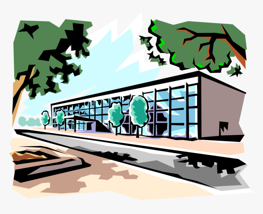 Vector Illustration Of Urban Office Building With Trees - Office Building Clip Art, HD Png Download, Free Download