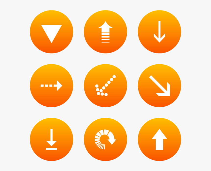 Classic Arrows Icon In Style Flat Circle White On Orange - Circle, HD Png Download, Free Download