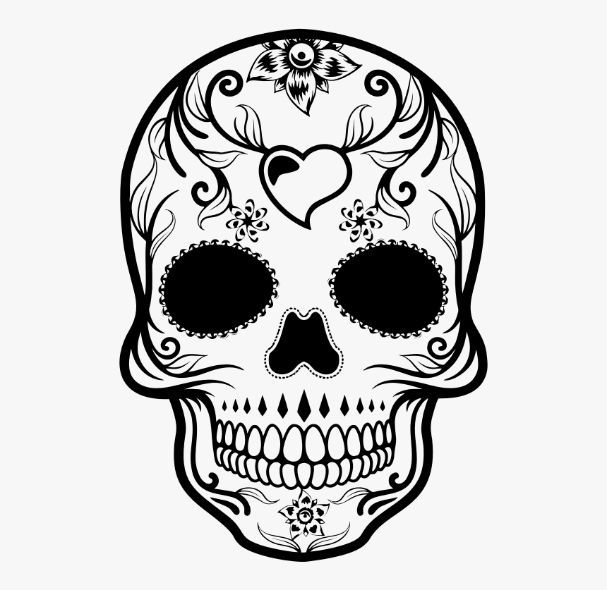 Day Of The Dead Sugar Skull - Day Of The Dead Skull Drawing, HD Png Download, Free Download