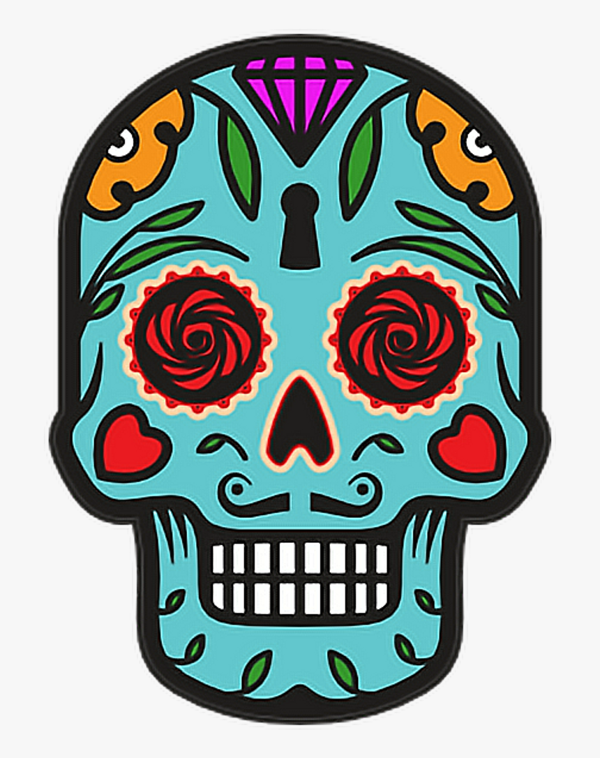 Catrina Skull Halloween Diademuertos Blue Flowers Happy - Day Of The Dead Skull Clipart, HD Png Download, Free Download