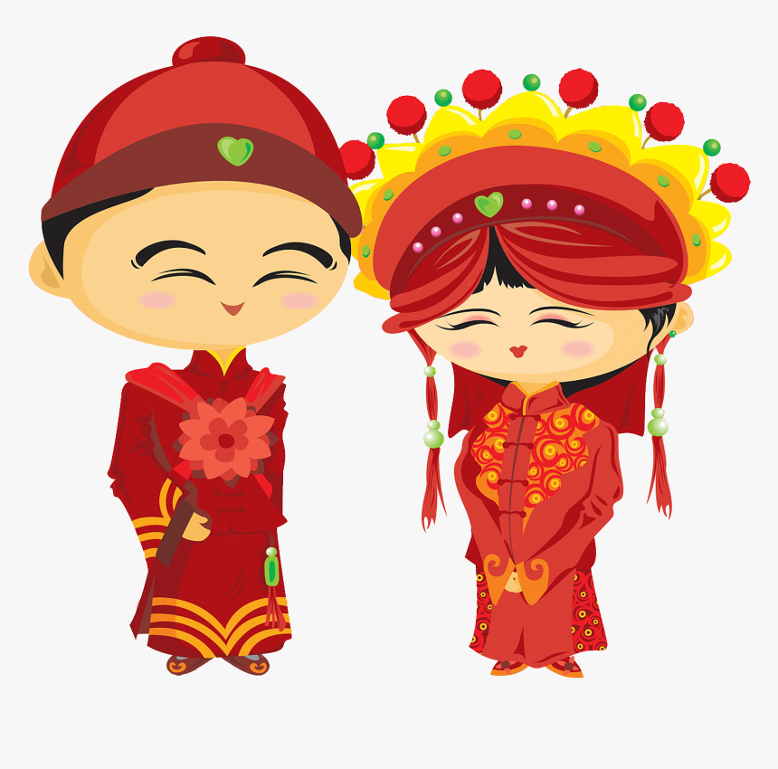 Wedding Bridegroom Chinese Marriage Illustration Smiling Chinese Marriage Hd Cartoons Hd Png Download Kindpng
