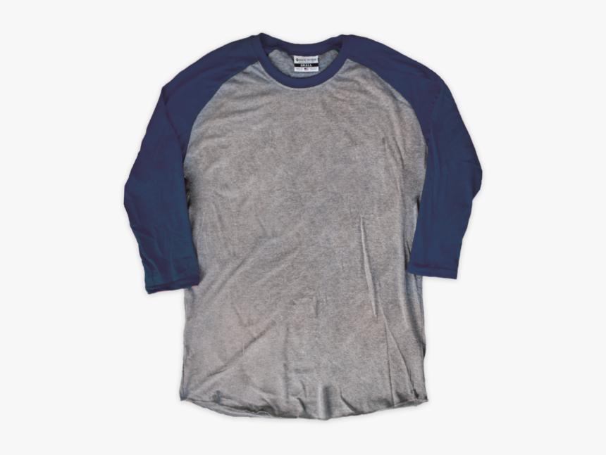 Gray & Navy Blank Raglan [tag] - Long-sleeved T-shirt, HD Png Download, Free Download