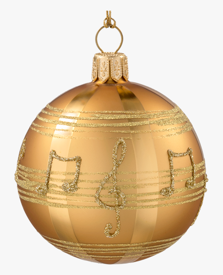Glass Bauble Gold-coloured With Musical Notes, 10 Cm - Christmas Day, HD Png Download, Free Download