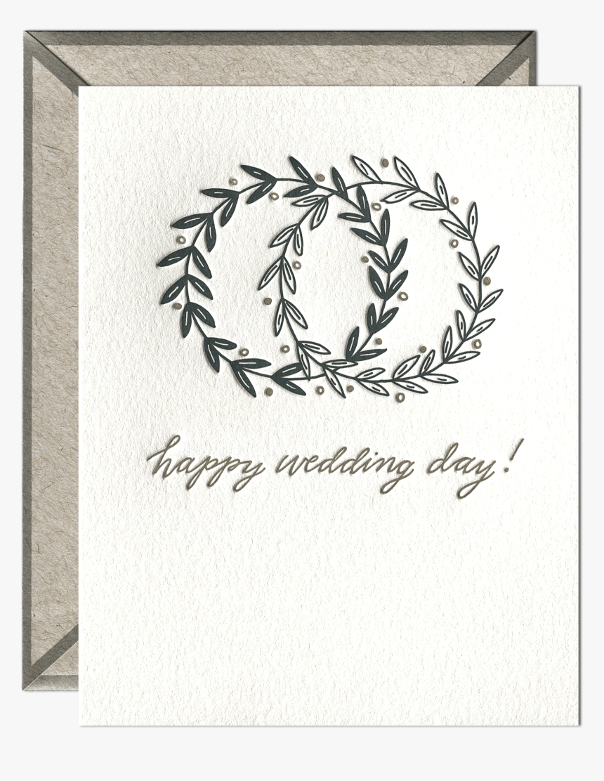 Happy Wedding Day Letterpress Greeting Card With Envelope - Handwritten Happy Birthday Card, HD Png Download, Free Download