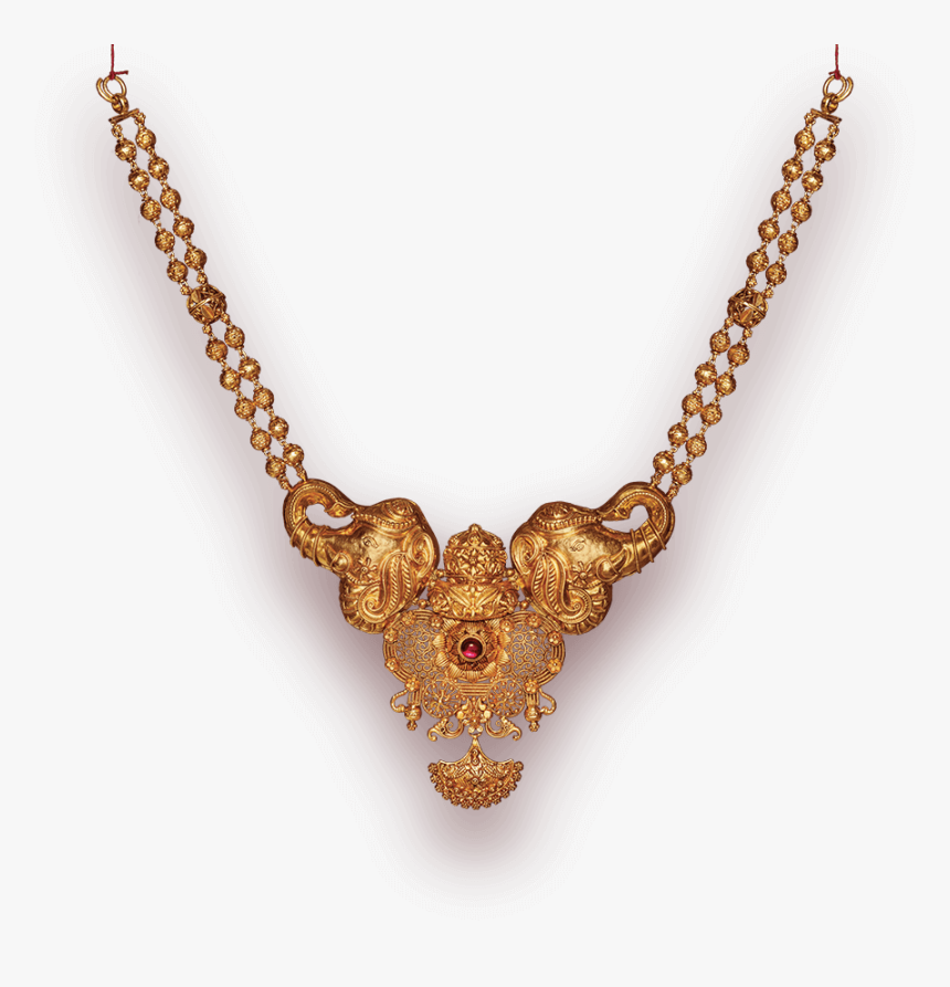 Golden Jewellery Png - Tanishq Elephant Necklace, Transparent Png, Free Download