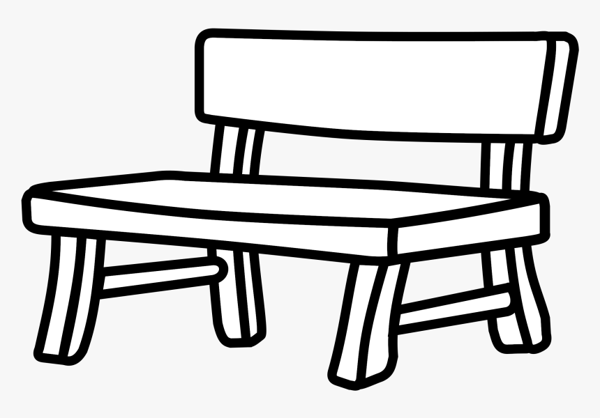 Bench Drawing White Black Park Bench Black And White Hd Png