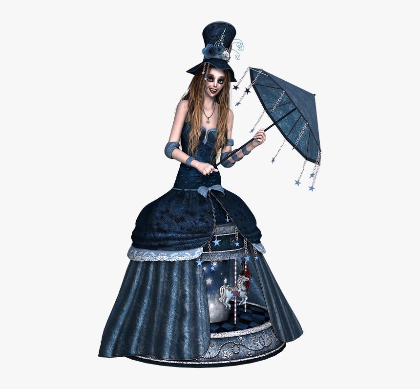 Girl, Dress, Steampunk, Umbrella, Laugh, Standing, - Victorian Steampunk Umbrella, HD Png Download, Free Download