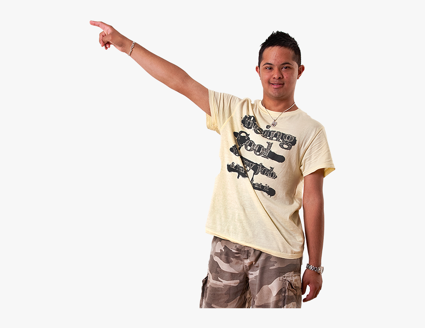 Man Pointing Left - Down Syndrome Person Pointing, HD Png Download, Free Download