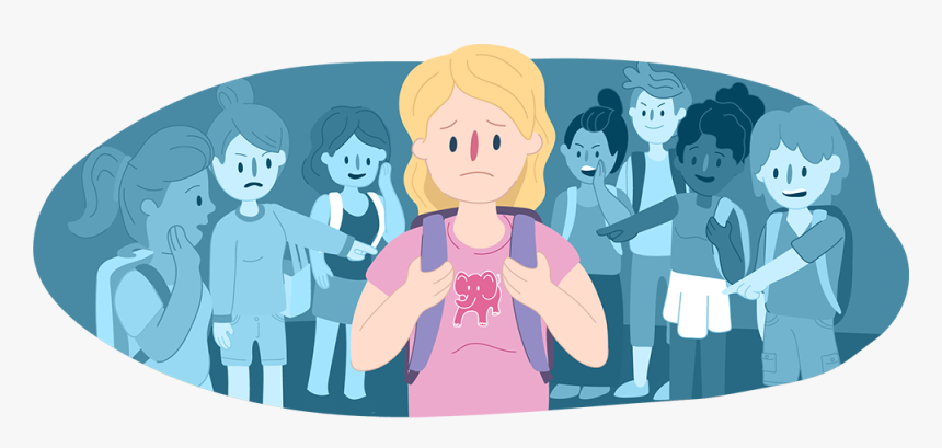 Girl At School, Standing In The Middle Surrounded By - Social Bullying, HD Png Download, Free Download