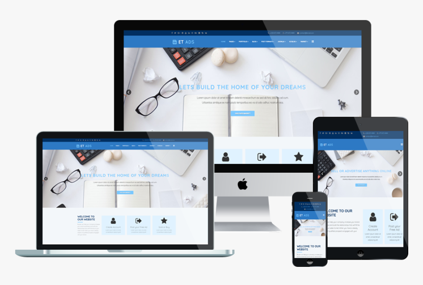 Et Ads Free Responsive - Responsive Template Png, Transparent Png, Free Download