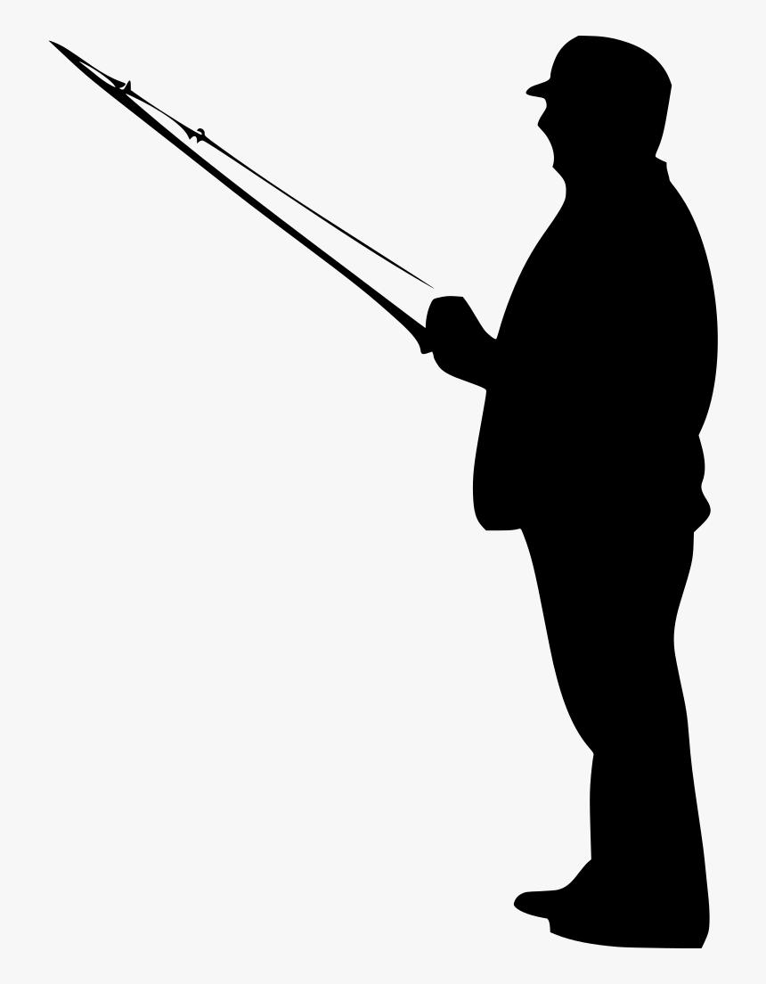 Fisherman Clipart Black - Man Fishing Silhouette Png, Transparent Png, Free Download