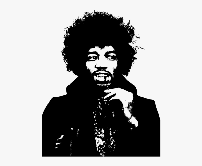 Jimi Hendrix Black And White Drawing Bear - Jimi Hendrix Black And White, HD Png Download, Free Download