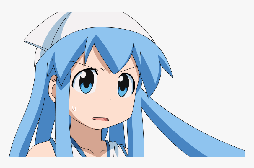 Squid Girl Anime Gif No Background - Blue Haired Chibi Anime Girl, HD Png Download, Free Download
