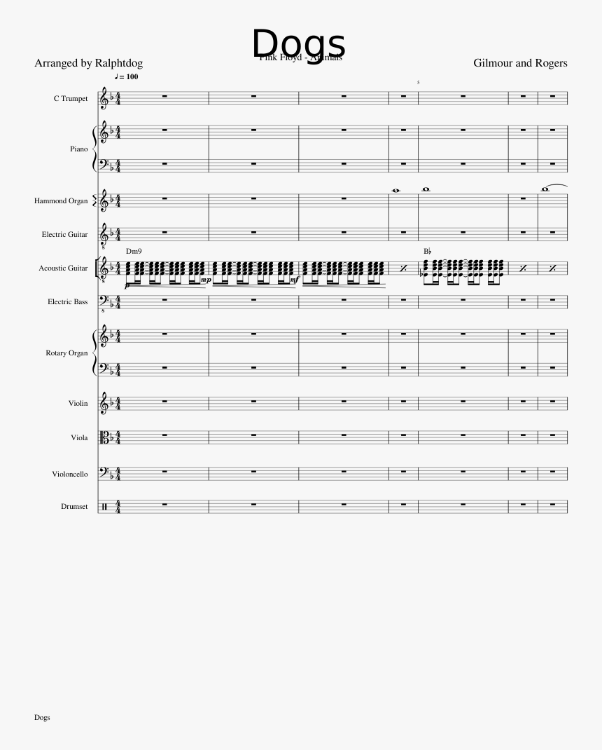 Pink Floyd Dogs Sheet Music, HD Png Download, Free Download