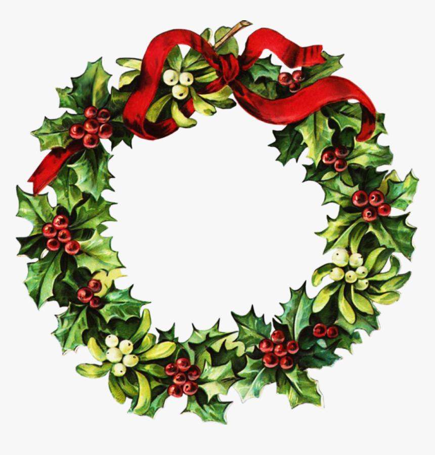 Vintage Christmas Wreath Png Clipart , Png Download - Free Christmas Cross Stitch Patterns For Wreaths, Transparent Png, Free Download