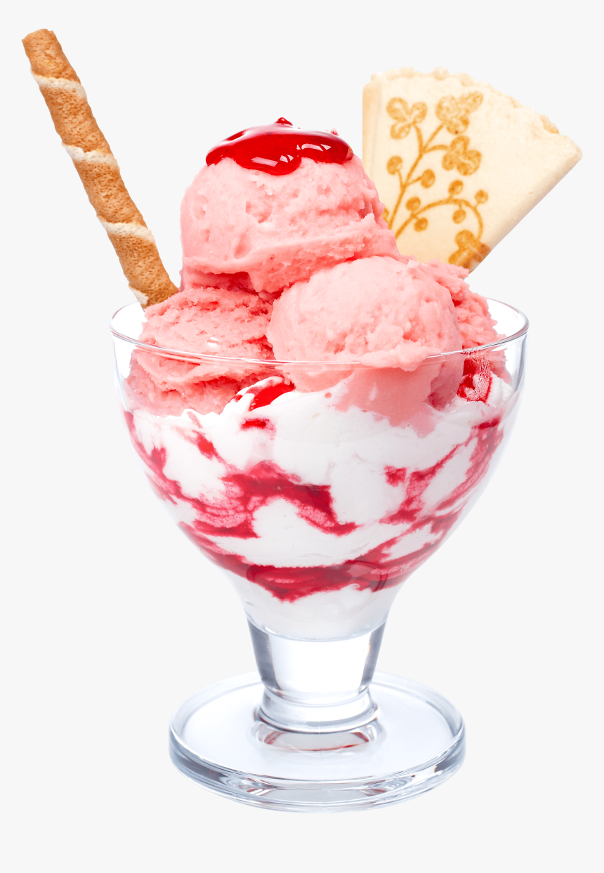 Strawberry Parfait Ice Cream Ice Cream In A Bowl Hd Png Download Kindpng