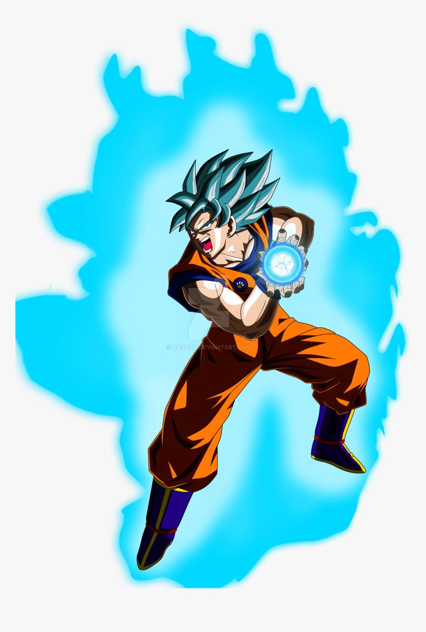 Goku Super Saiyan Blue Kamehameha Pose By Aashananimeart - Goku Super Saiyan Blue Kamehameha, HD Png Download, Free Download