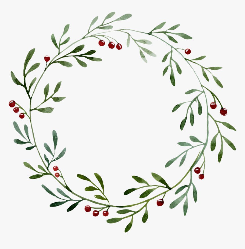 Plant Border Wreath Illustration Hollow Watercolor - Watercolor Christmas Wreath Png, Transparent Png, Free Download
