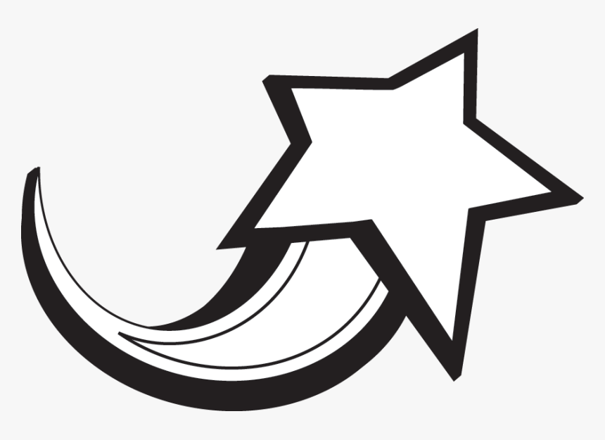 White Star Png - Shooting Star Clipart Black And White, Transparent Png, Free Download
