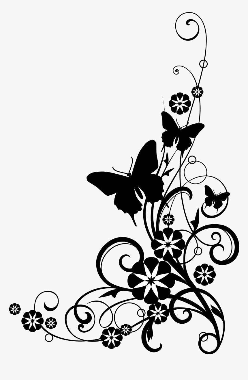 Black Border Png - Flower Border Black And White Png, Transparent Png, Free Download