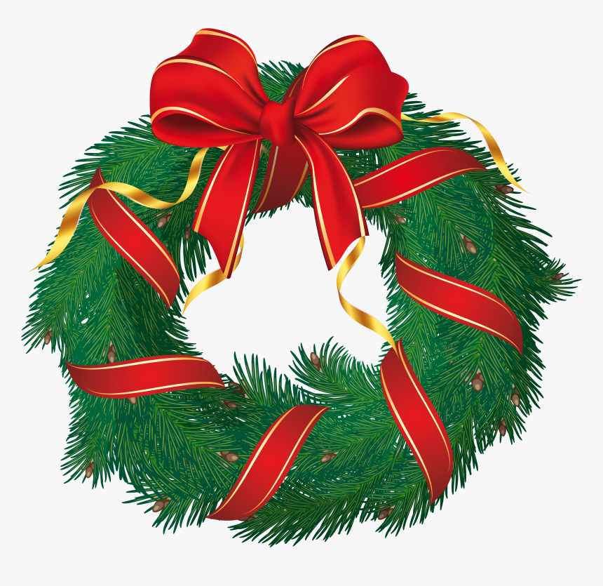 Christmas Tree Clipart Wreath - Transparent Background Christmas Wreath Clipart, HD Png Download, Free Download
