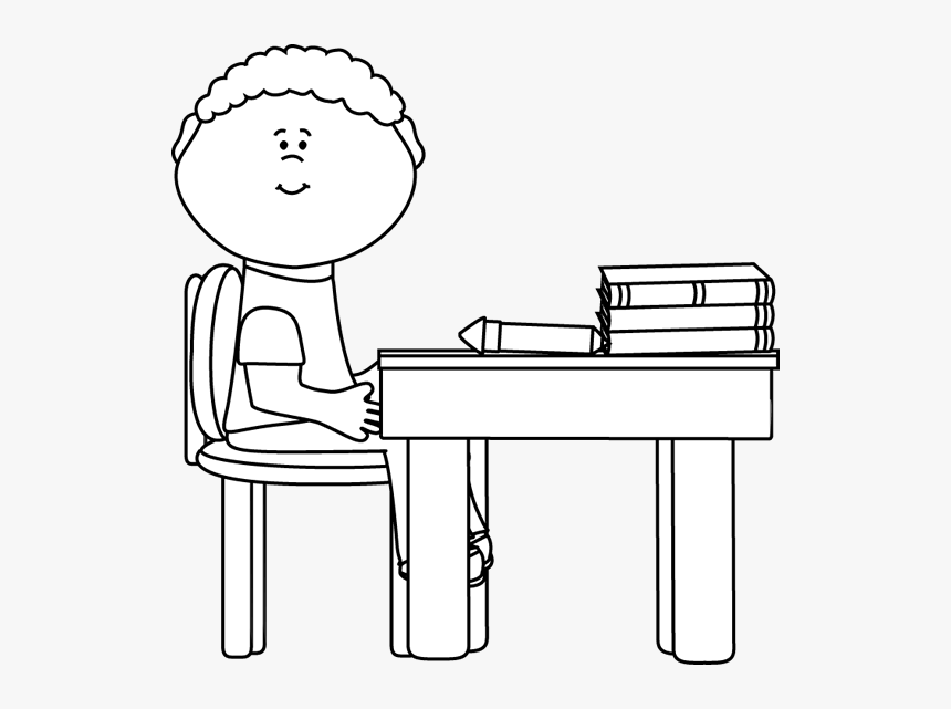 Black And White Boy In School - Boy Sits In Class Black And White Clipart, HD Png Download, Free Download