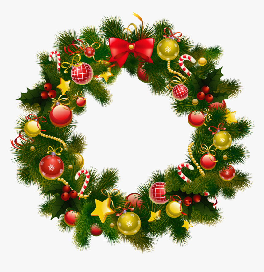 Christmas Wreath Frame Png, Transparent Png, Free Download