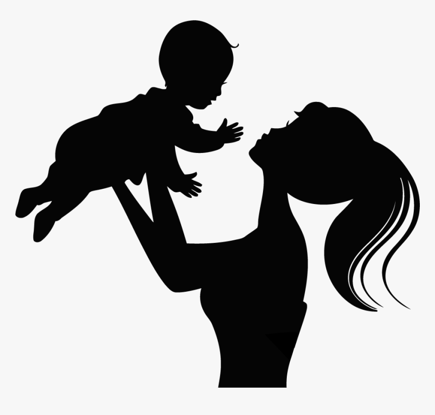 Silhouette Child Infant Mother - Transparent Mother And Baby Silhouette, HD Png Download, Free Download