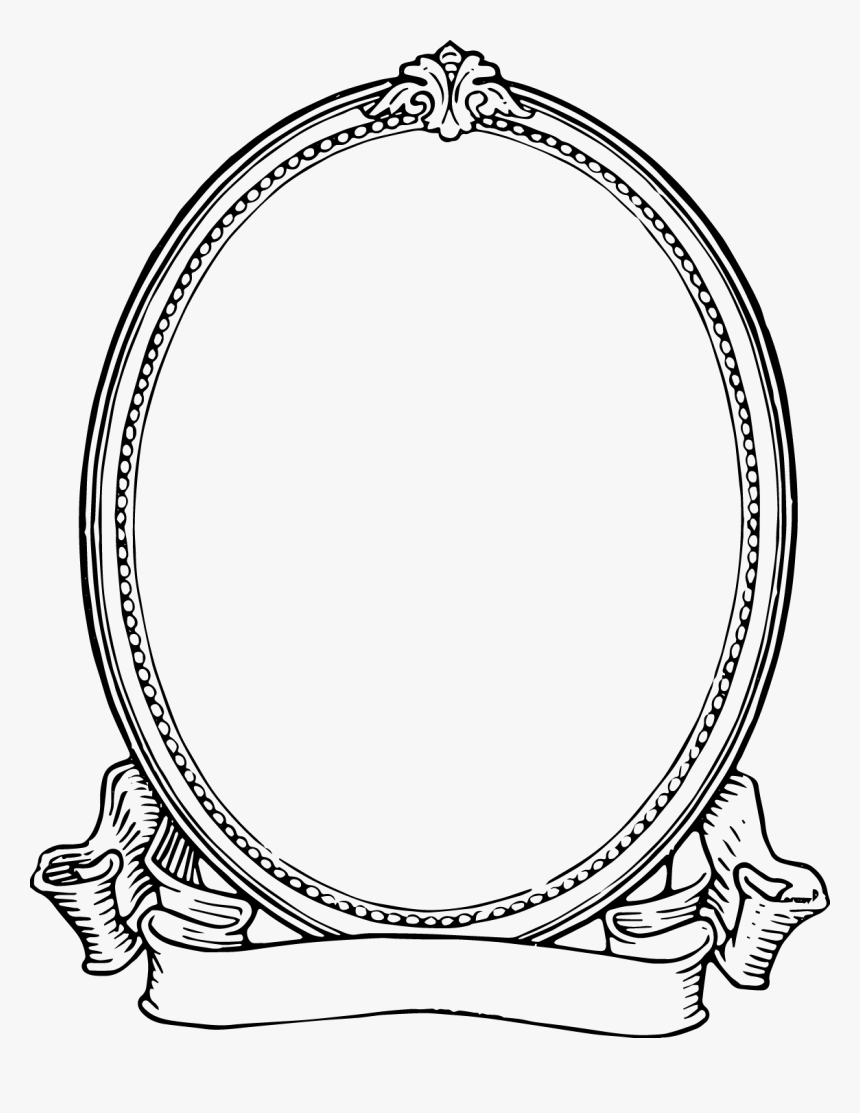 Oval Frame Clip Art - Frame Black And White, HD Png Download, Free Download