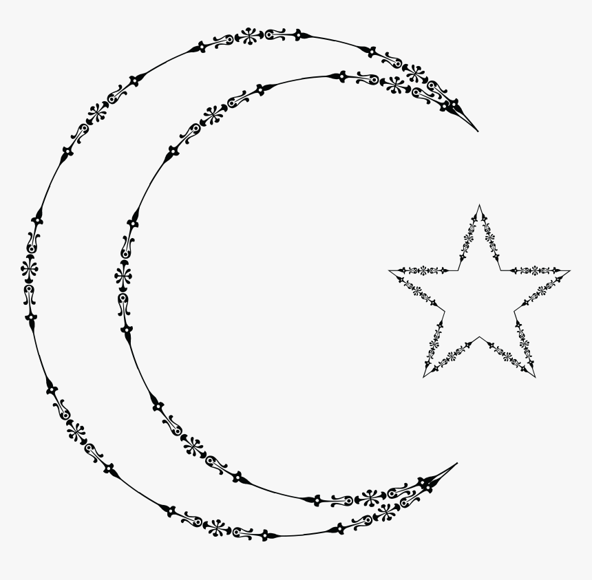 10 Hand Drawn Fancy Border Circle & Oval Frame Clipart - Crescent And Star In Clipart, HD Png Download, Free Download