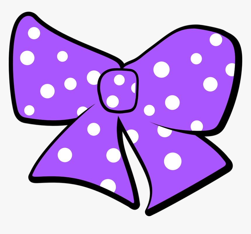 Bow, Polka Dots, Purple, Ribbon, Vintage, Design, Gift - Pink Ribbon Minnie Mouse, HD Png Download, Free Download